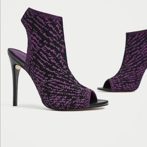Purple Fly Knit Peep Toe Bootie Cage Sandals